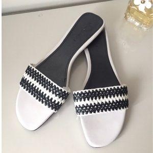 Zara black and white woven slides